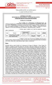 Extracto Telecomunicaciones Cía Nacional de Teléfonos, Telefónica del Sur S.A. Región del Maule, Comuna de Rauco